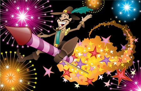 guy fawkes night: Guy Fawkes riding through exploding fireworks. Illustration