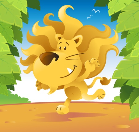 Cute cartoon lion running through the jungle. Vector
