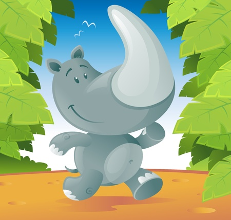 Cute cartoon Rhino running through the jungle. Vector