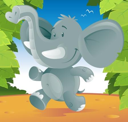 Elefante lindo de la historieta corriendo por la selva. Ilustración de vector