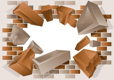 Exploding Brick Wall Stock Vector - 10954217