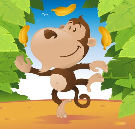 Cute cartoon Monkey juggling in the jungle. Vector