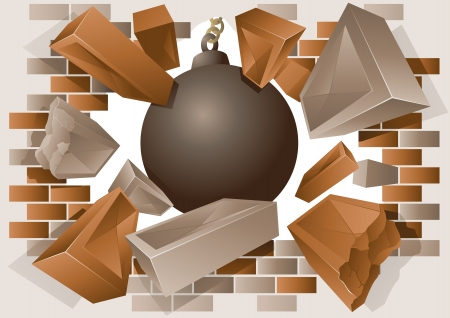 Exploding brick wall and wrecking ball Stock Vector - 10954221