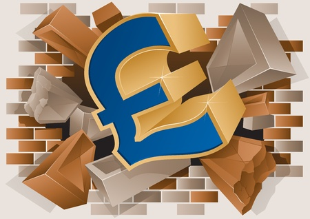 demolishing: Vector illustration of a Pound Sign Exploding through a Brick Wall.