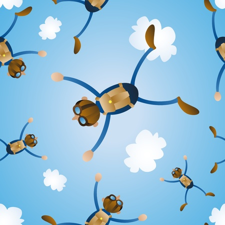 Sky Diving Seamless Tile Vector