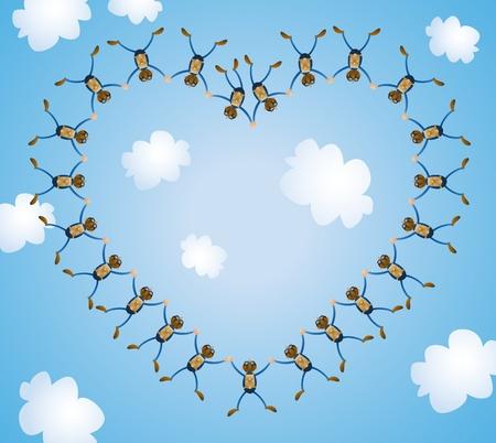 We Love Sky Diving Vector
