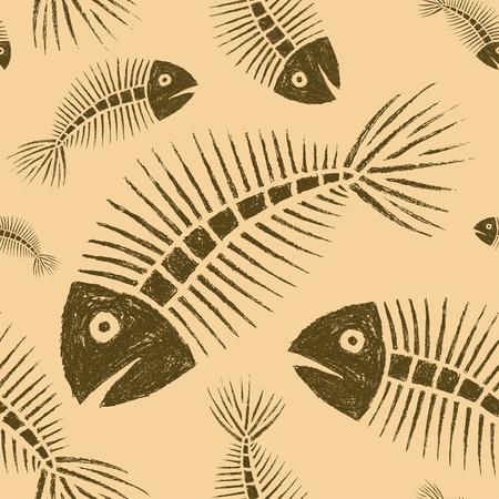 skeleton of fish: Mano peces extra�dos Azulejos esqueleto Seamless Vectores