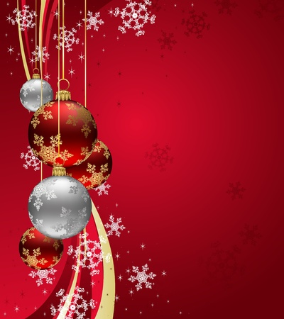 Christmas Background with sparkle swirl and Red Baubles Stock Vector - 12496298
