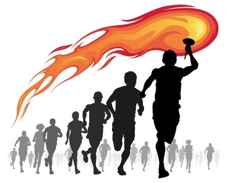 Runners e atleta con torcia fiammeggiante