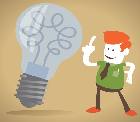 expressing positivity: Retro Corporate Guy has a bright idea