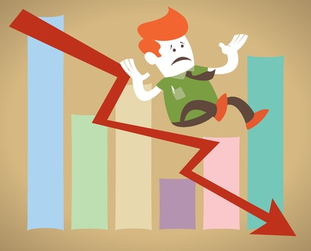 plunge: Retro Corporate Guy falls down the sales chart  Illustration