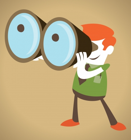 Retro Corporate Guy with his huge binoculars  Illustration