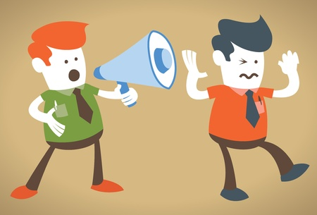 deafening: Retro Corporate Guy holding a megaphone is deafening  Illustration