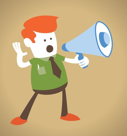 Retro Corporate Guy holding a megaphone Vector