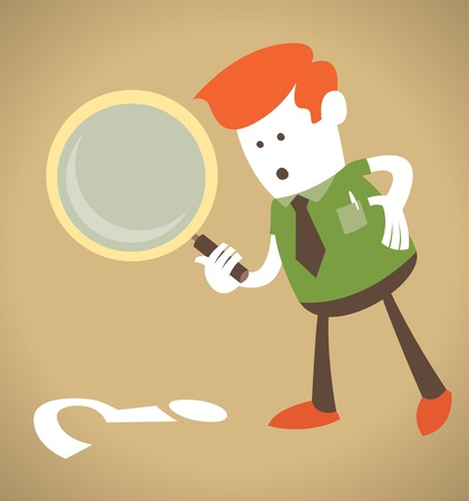 Retro Corporate Guy with magnifying glass  Vector