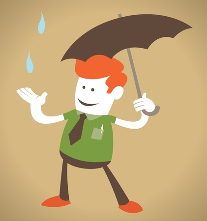 Retro Corporate Guy with Umbrella  Vector