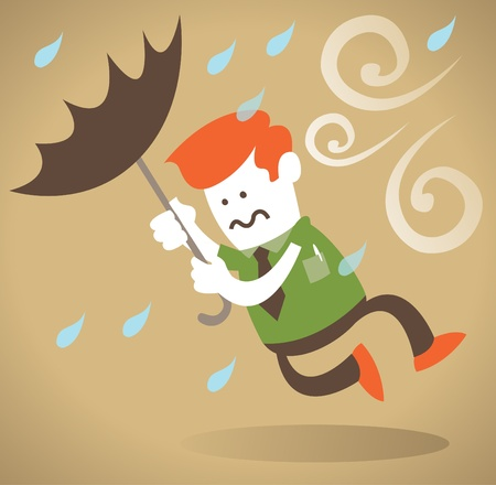 Retro Corporate Guy blown away with Umbrella