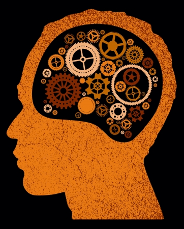 mental work: abstract head with cogs and gears  Illustration