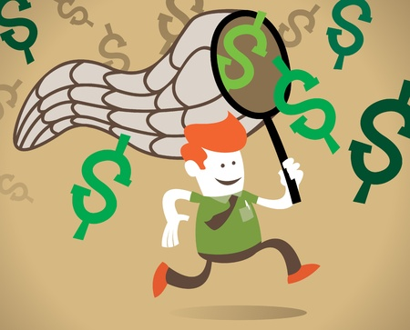 Retro Corporate Guy chases the dollar  Stock Vector - 12826992