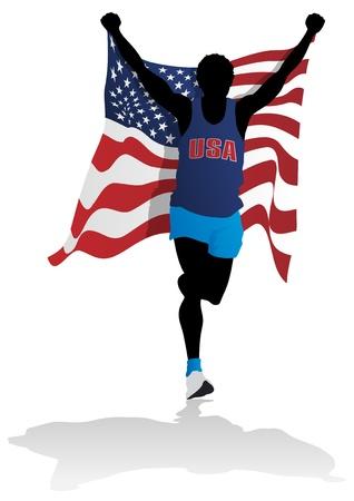 exhaustion: USA Race Winner Illustration