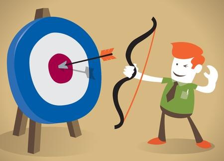 golpeando: Individuo retra corporativo dar en el blanco con su arco y la flecha