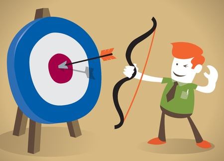 bull s eye: Retro Corporate Guy hitting the target with his bow and arrow