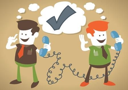 telephone cartoon: Retro Corporate Guys make a deal on the telephone