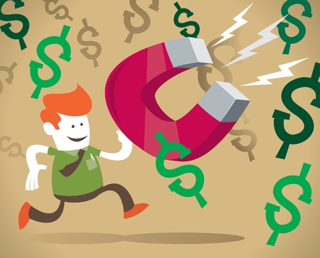 Vector illustration of Retro Corporate Guy chasing the illusive dollar with his GIGANTIC Magnet  Illustration