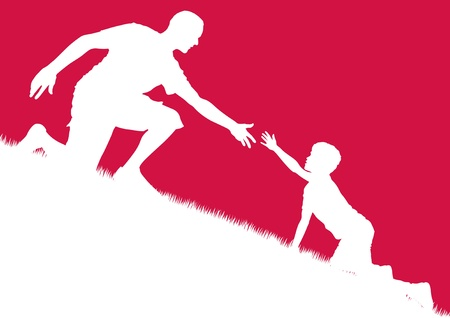 reach out: vector illustration of a father offering a helping hand to his son