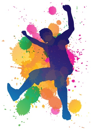 teen culture: Man jumping against a paint splatter background  Illustration