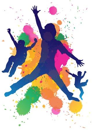 Jonge jongens springen tegen een verf splatter achtergrond Vector Illustratie