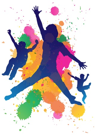 niños pintando: Los muchachos jóvenes saltando sobre un fondo salpicadura de la pintura