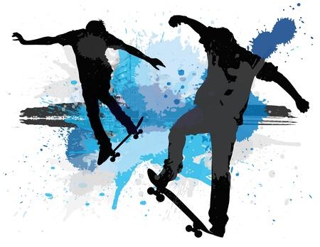 mid air: Los patinadores Vectores