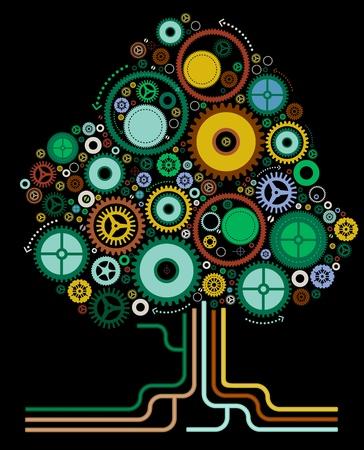 arbol de problemas: Ilustración vectorial de un árbol Cog Resumen
