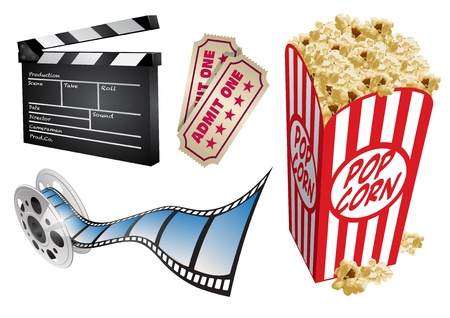 movie and popcorn: Movie themed design elements and icons