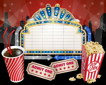 sign with Popcorn and Cola Vector