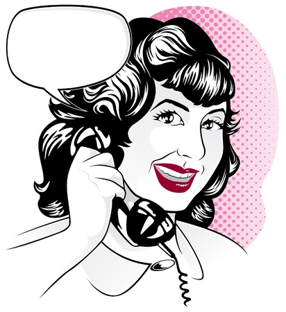Girl on Telephone Vector