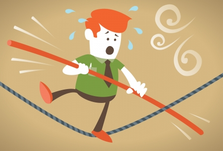 multitasking: Corporate Guy has trouble with his balance as he walks the tightrope  Illustration