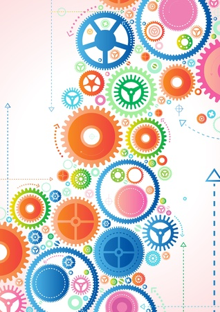 contrasts: Abstract Cogs Illustration