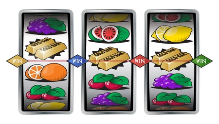 cash machine: Slot Machine Winning Reels Illustration