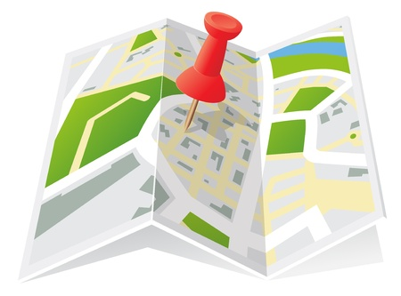 geographical locations: Trifold Town Map with Push Pin
