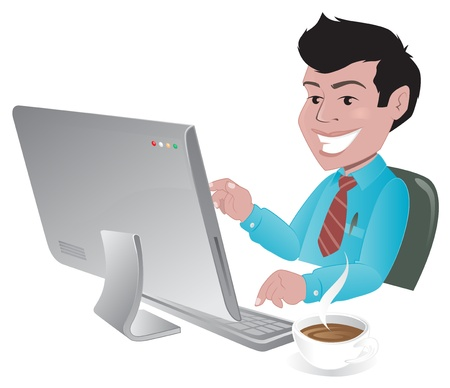 computer cartoon: Happy man searching the internet Illustration