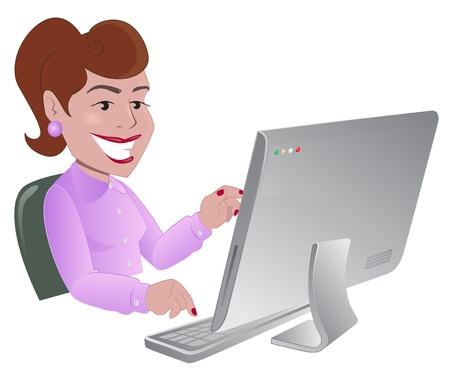 Happy woman searching the internet Vector