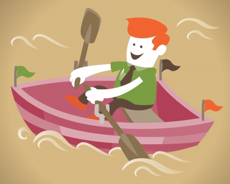 rowing: orporate Guy will rows home for shore in his paddle powered row boat Illustration