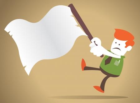 Guy vagues d'entreprise le drapeau blanc de la capitulation Vecteurs