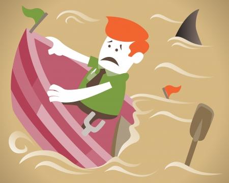ahogandose: Individuo Corporativo a bordo de su barco que se hunde