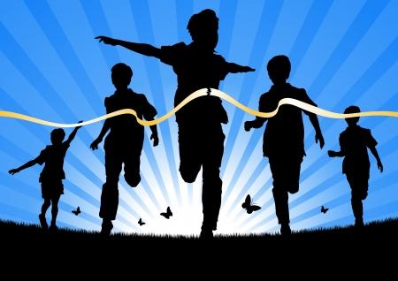 Niños corriendo en una carrera