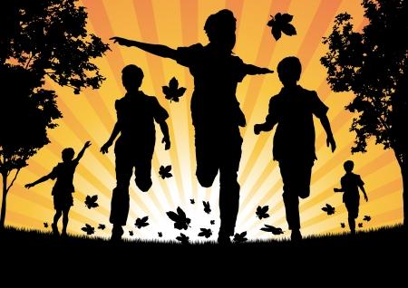 niño corriendo: Muchachos que se ejecutan en las hojas de otoño Vectores