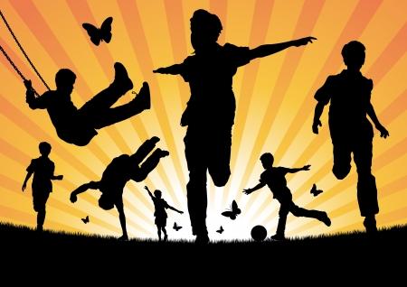 juventud: Ni�os jugando en el sol
