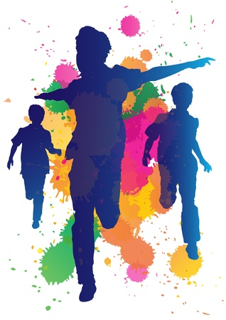 Young boys running against a paint splatter background  Ilustracja